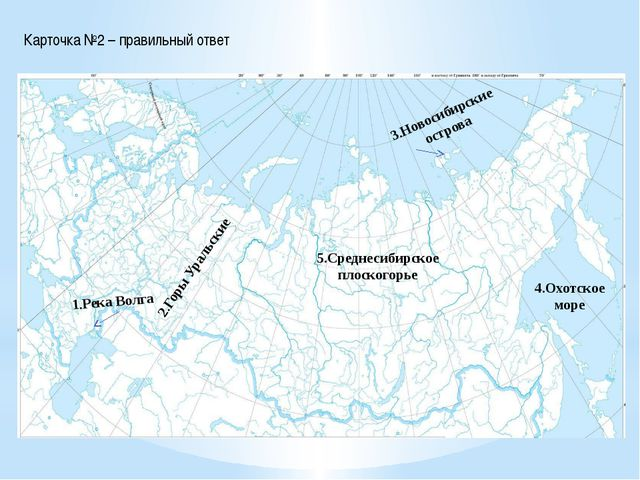 Карточка №2 – правильный ответ 1.Река Волга 2.Горы Уральские 3.Новосибирские...