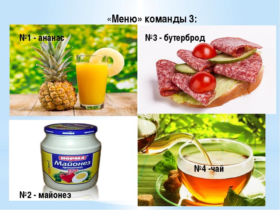 «Меню» команды 3: №1 - ананас №2 - майонез №3 - бутерброд №4 -чай