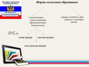 в форме семейного образования и самообразования Формы получения образования С
