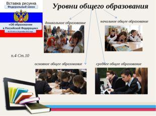 начальное общее образование Уровни общего образования п.4 Ст.10 основное обще