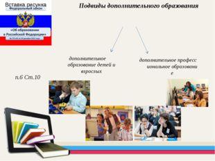 дополнительное профессиональное образование Подвиды дополнительного образован