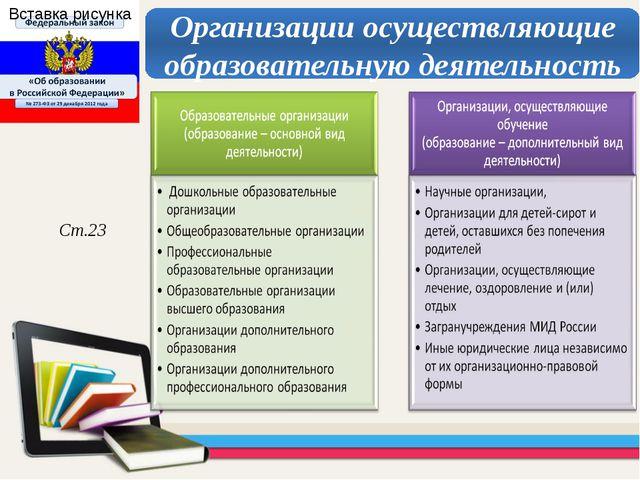 Ст.23 Организации осуществляющие образовательную деятельность
