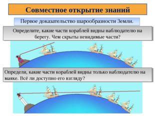 Первое доказательство шарообразности Земли. Совместное открытие знаний Опреде