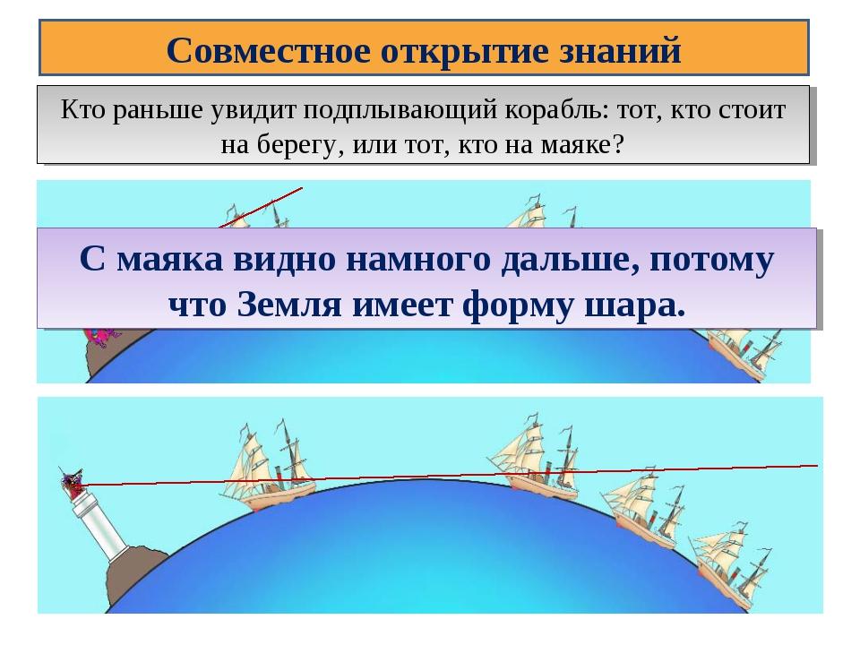 Совместное открытие знаний Кто раньше увидит подплывающий корабль: тот, кто с...
