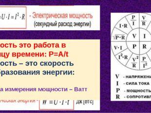 Мощность это работа в единицу времени: Р=А/t Мощность – это скорость преобраз