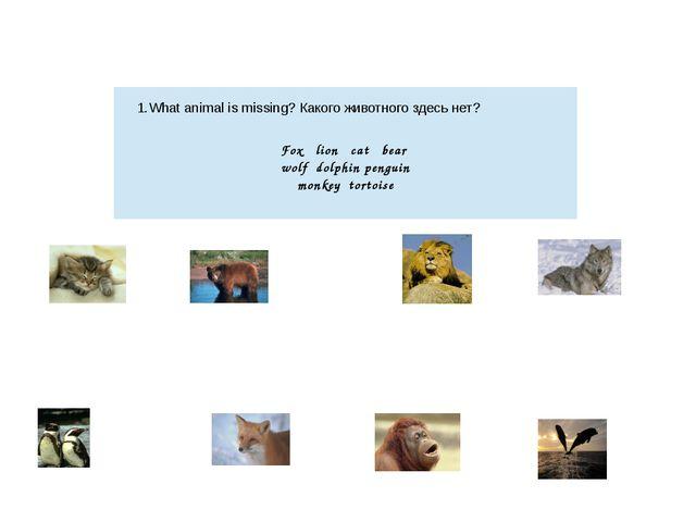 1.What animal is missing?Какого животного здесь нет? Fox lion cat bear wolf...