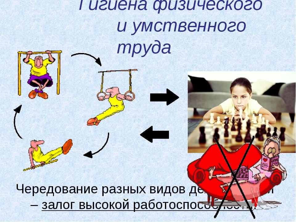 Гигиена физического и умственного труда Чередование разных видов деятельности...