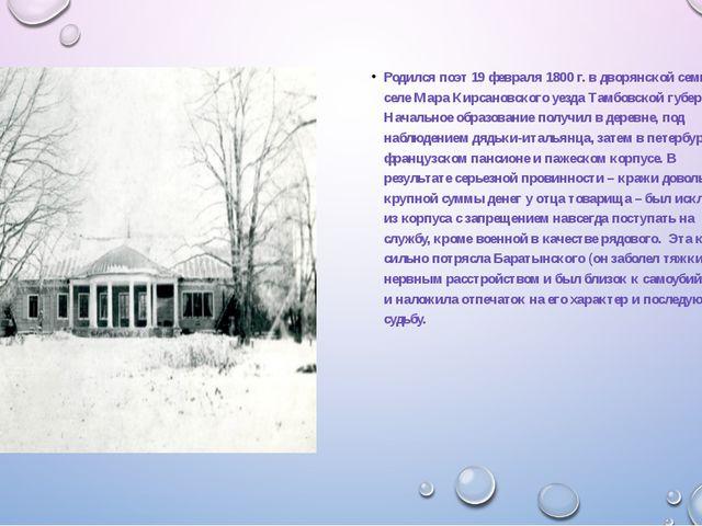 Родился поэт 19 февраля 1800 г. в дворянской семье в селе Мара Кирсановского...