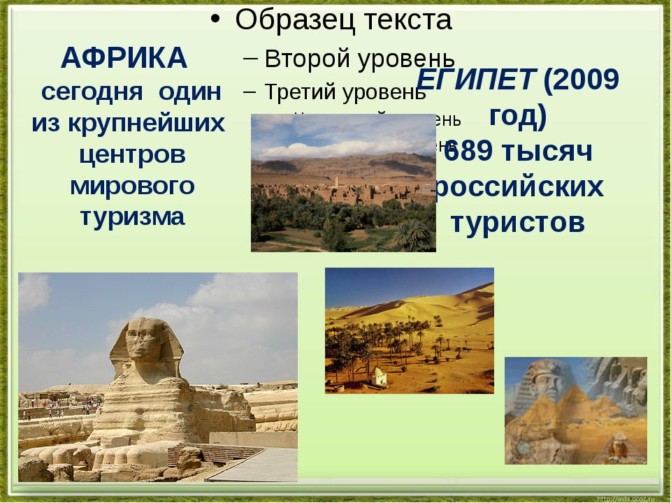 ЕГИПЕТ (2009 год) 689 тысяч российских туристов АФРИКА сегодня один из крупн...