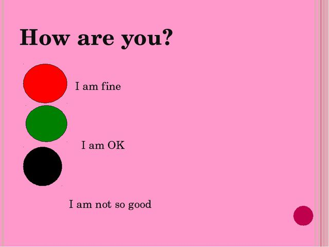 How are you? I am fine I am OK I am not so good