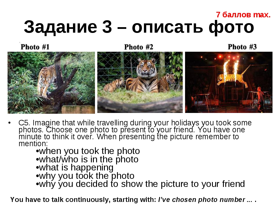 Задание 3 – описать фото C5. Imagine that while travelling during your holida...