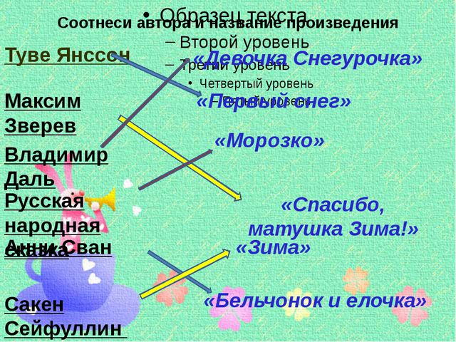 Соотнеси автора и название произведения Туве Янссон Максим Зверев Владимир Да...