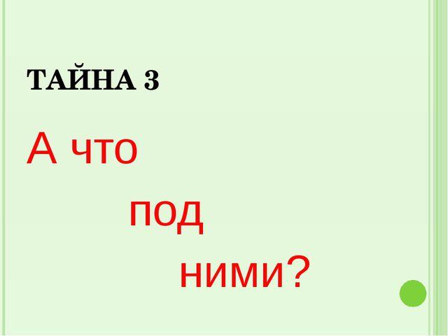ТАЙНА 3 А что под ними?