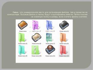 Папка- это универсальное место для организации файлов, тем и проектов на ком