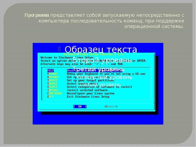 Программапредставляет собой запускаемую непосредственно с компьютера последо...