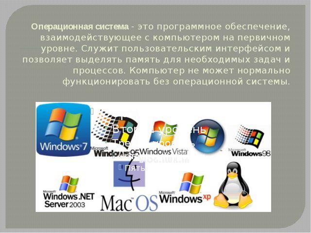 Операционная система- это программное обеспечение, взаимодействующее с компь...