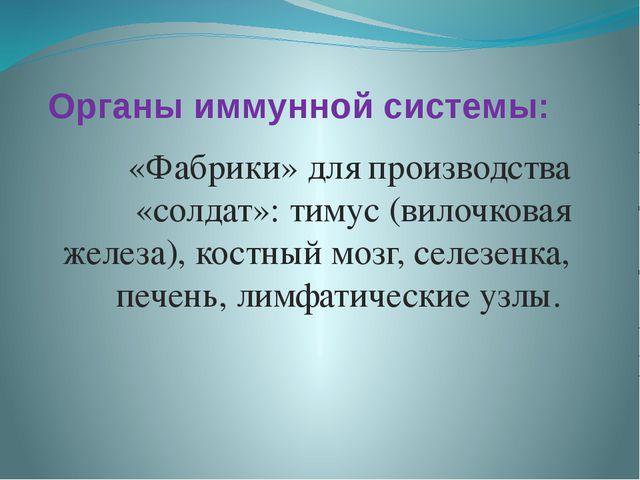Органы иммунной системы: «Фабрики» для производства «солдат»: тимус (вилочков...