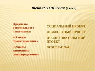 ВЫБОР УЧАЩЕГОСЯ (2 часа) Предметы регионального компонента: «Основы проектиро