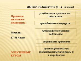 ВЫБОР УЧАЩЕГОСЯ (0 – 4 - 6 часов) Предметы школьного компонента: ЭЛЕКТИВНЫЕ К