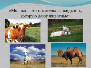 «Молоко – это питательная жидкость, которую дают животные»