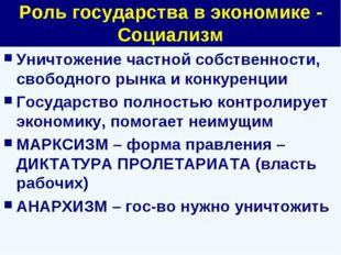 Роль государства в экономике - Социализм Уничтожение частной собственности, с