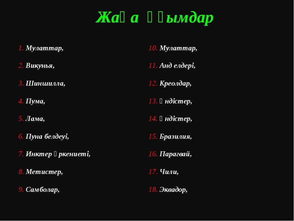 Жаңа ұғымдар 1. Мулаттар, 2. Викунья, 3. Шиншилла, 4. Пума, 5. Лама, 6. Пуна...