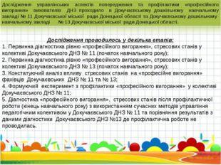 Дослідження управлінських аспектів попередження та профілактики «професійного