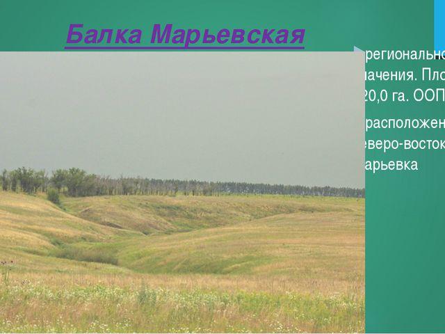 Балка Марьевская регионального значения. Площадь 120,0 га. ООПТ расположена в...