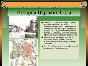 История Царского Села 24 июня 1710 года Петр I подарил Сарскую мызу ( так наз
