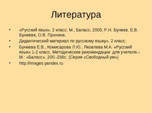 Литература «Русский язык», 2 класс. М., Баласс, 2005, Р.Н. Бунеев, Е.В. Бунее