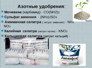Азотные удобрения: Мочевина (карбамид) - CO(NH2)2 Сульфат аммония - (NH4)2SO