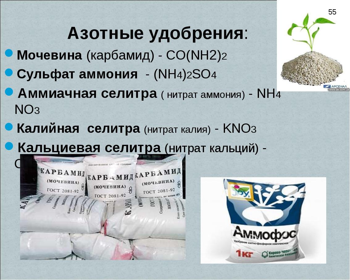 Азотные удобрения: Мочевина (карбамид) - CO(NH2)2 Сульфат аммония - (NH4)2SO...