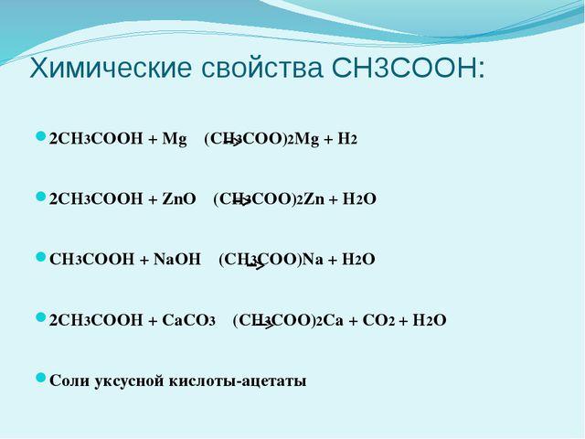 Химические свойства CH3COOH: 2CH3COOH + Mg (CH3COO)2Mg + H2 2CH3COOH + ZnO (C...