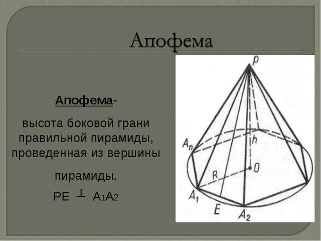 Апофема- высота боковой грани правильной пирамиды, проведенная из вершины пир...