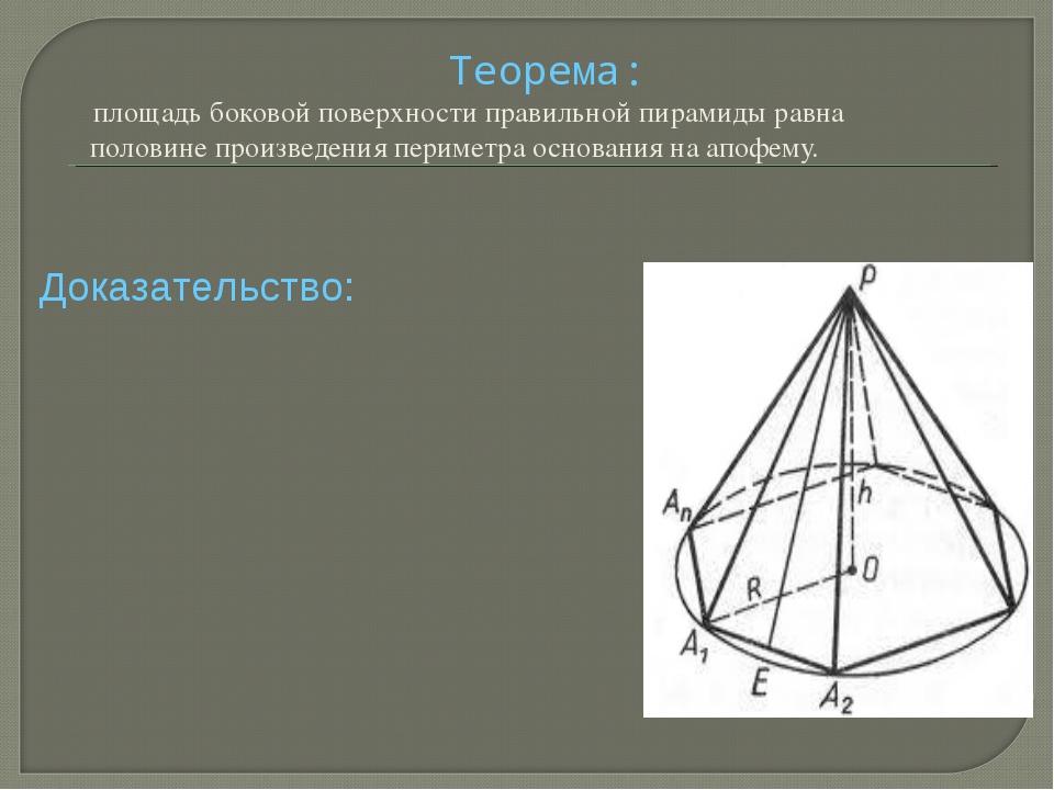 Теорема: площадь боковой поверхности правильной пирамиды равна половине прои...
