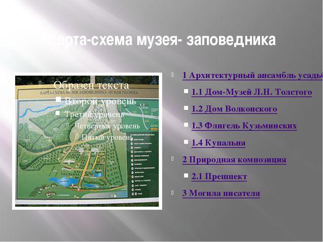 Карта-схема музея- заповедника 1Архитектурный ансамбль усадьбы 1.1Дом-Музе...