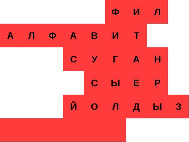 Кроссворд ФИЛ АЛФАВИТ СУГАН СЫЕ...