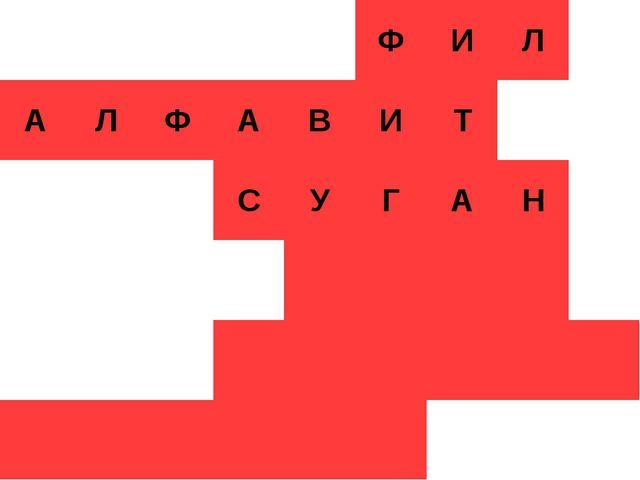 Кроссворд ФИЛ АЛФАВИТ СУГАН ...