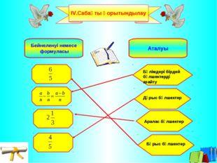 ІV.Сабақты қорытындылау Бейнеленуі немесе формуласы Аталуы Бөлімдері бірдей