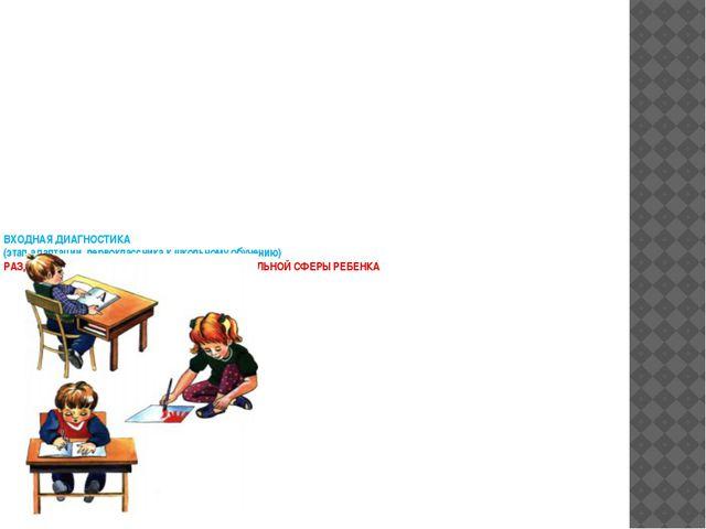 ВХОДНАЯ ДИАГНОСТИКА (этап адаптации первоклассника к школьному обучению) РАЗД...
