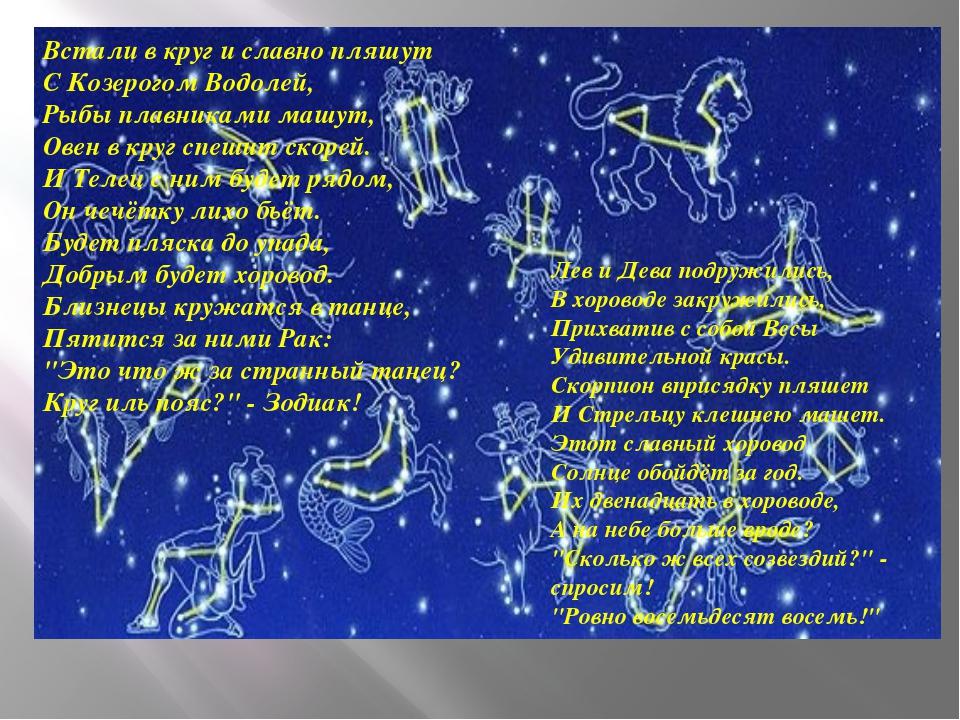 Встали в круг и славно пляшут С Козерогом Водолей, Рыбы плавниками машут, Ов...