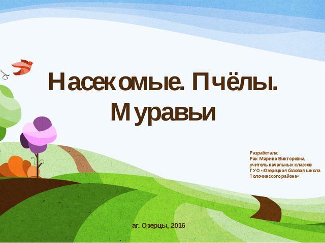 Насекомые. Пчёлы. Муравьи Разработала: Рак Марина Викторовна, учитель начальн...