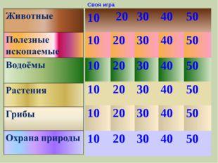 Своя игра 20 10 30 40 50 10 20 50 40 30 10 20 30 40 50 30 20 10 40 50 50 40 3
