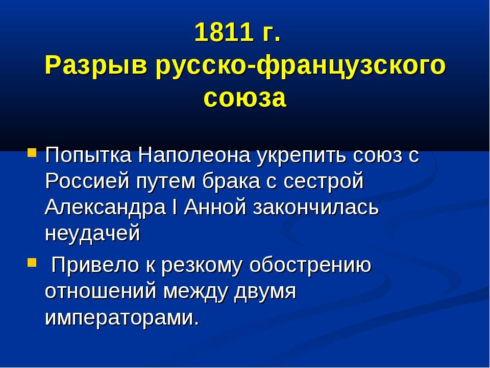 1811 г. Разрыв русско-французского союза Попытка Наполеона укрепить союз с Ро...