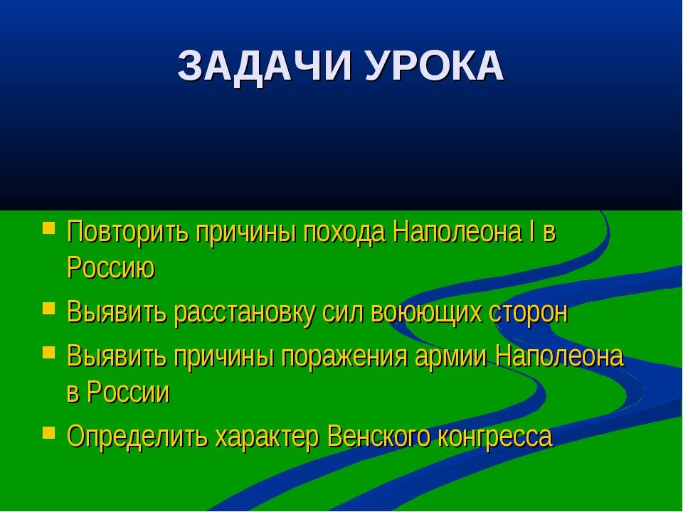 ЗАДАЧИ УРОКА Повторить причины похода Наполеона I в Россию Выявить расстановк...