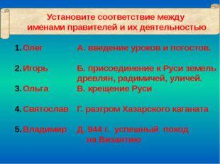 Олег Игорь Ольга Святослав Владимир А. введение уроков и погостов. Б. присоед
