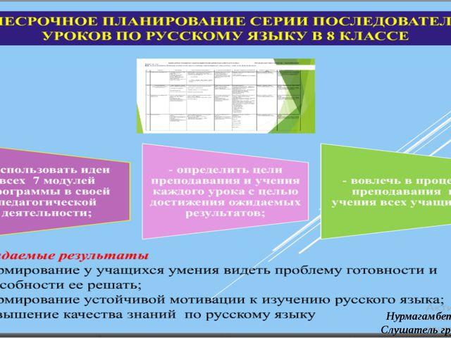 Нурмагамбетов Д.Ж. Слушатель группы №1