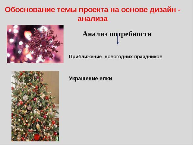 Обоснование темы проекта на основе дизайн - анализа Приближение новогодних пр...