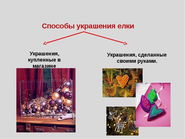 Способы украшения елки Украшения, купленные в магазине Украшения, сделанные с...