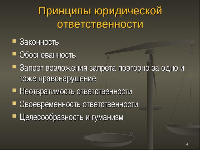 Принципы юридической ответственности Законность Обоснованность Запрет возложе...